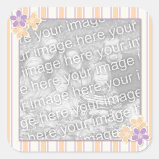 Pegatinas de la foto del marco de la púrpura y del pegatina cuadrada