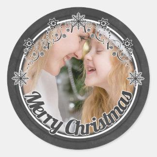 Pegatinas de la foto del navidad de la pizarra del pegatina redonda