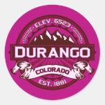 Pegatinas de la frambuesa del logotipo de Durango Etiqueta Redonda