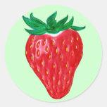 Pegatinas de la fresa etiquetas redondas