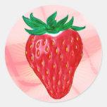 Pegatinas de la fresa v. 2 etiquetas redondas
