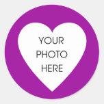Pegatinas de la frontera de Purple Heart Etiqueta Redonda