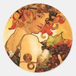 Pegatinas de la fruta de Alfonso Mucha Etiqueta Redonda