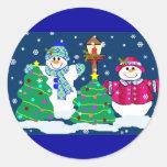 Pegatinas de la gente de la nieve etiqueta redonda