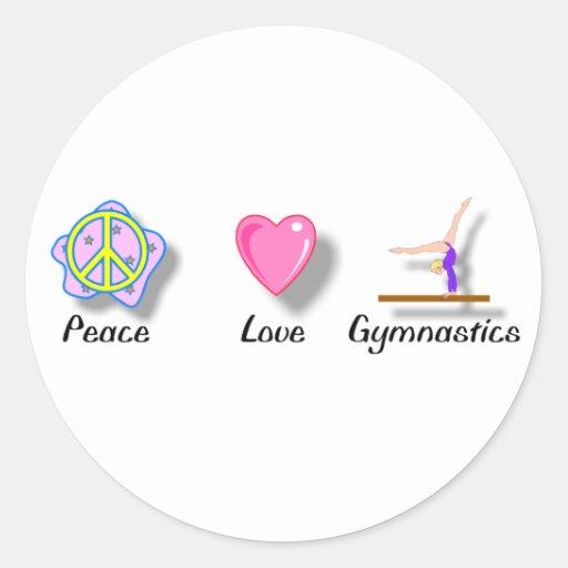 Pegatinas de la gimnasia del amor de la paz pegatina redonda