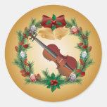 Pegatinas de la guirnalda de la música del navidad etiqueta redonda