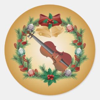 Pegatinas de la guirnalda de la música del navidad pegatina redonda