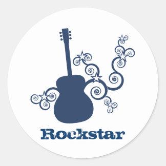 Pegatinas de la guitarra de Rockstar azul real