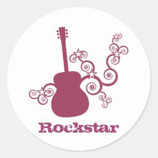 Pegatinas de la guitarra de Rockstar fucsia