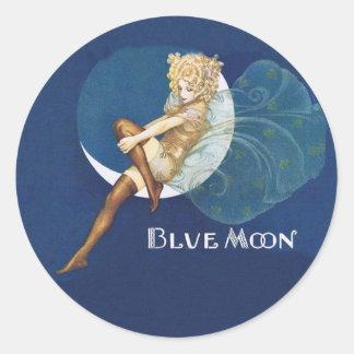 Pegatinas de la hada de la luna azul pegatina redonda