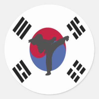 Pegatinas de la hembra del golpeador del Taekwondo Pegatina Redonda