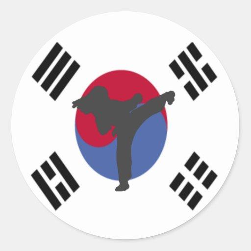 Pegatinas de la hembra del golpeador del Taekwondo Etiqueta Redonda