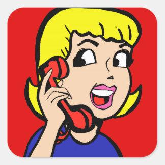 Pegatinas de la historieta del chica de teléfono colcomanias cuadradas personalizadas