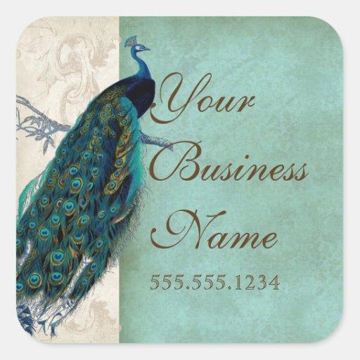 Pegatinas de la identificación del negocio del pav colcomania cuadrada