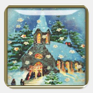 pegatinas de la iglesia del navidad colcomanias cuadradas