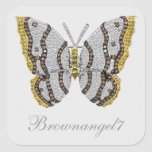 Pegatinas de la impresión de la mariposa del pegatina cuadrada