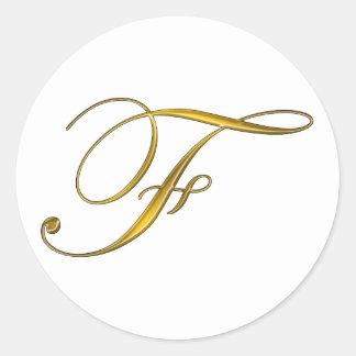 Pegatinas de la inicial F del monograma del oro Pegatina Redonda