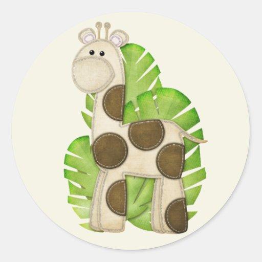 Pegatinas de la jirafa de la selva etiqueta redonda