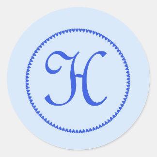 Pegatinas de la letra H del monograma Pegatina Redonda