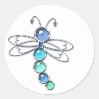 Pegatinas de la libélula del metal y del vidrio pegatina redonda
