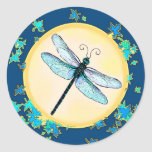 Pegatinas de la libélula etiqueta redonda