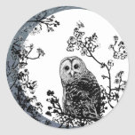 Pegatinas de la luna de la fauna de la naturaleza etiquetas redondas