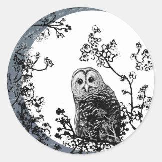 Pegatinas de la luna de la fauna de la naturaleza pegatina redonda