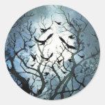 Pegatinas de la luna del cuervo pegatinas redondas