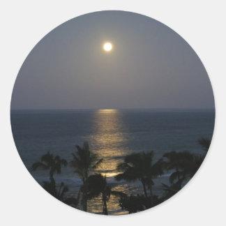 Pegatinas de la Luna Llena de Maui Moonset Pegatina Redonda