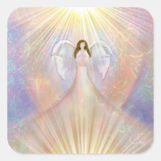 Pegatinas de la luz del corazón del ángel pegatina cuadrada