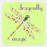 Pegatinas de la magia de la libélula calcomanía cuadradase