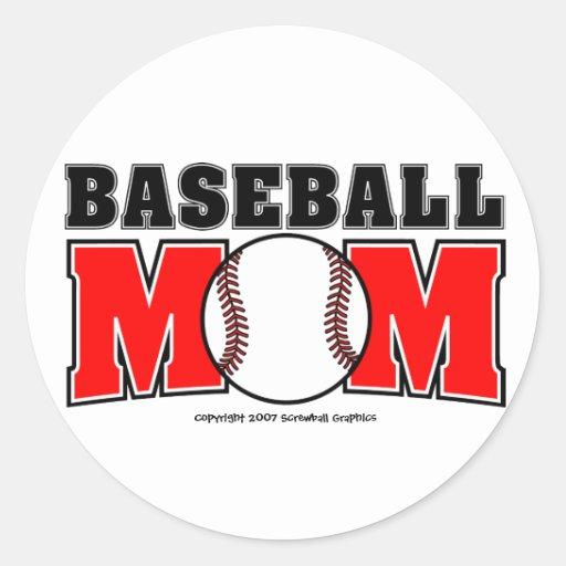 Pegatinas de la mamá del béisbol pegatina redonda