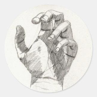 Pegatinas de la mano izquierda (detalle) pegatina redonda
