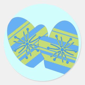Pegatinas de la manopla del invierno pegatina redonda