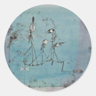 Pegatinas de la máquina de Paul Klee Twittering Pegatina Redonda