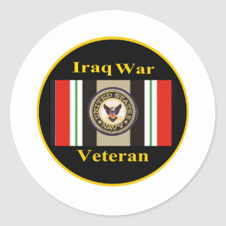 """Pegatinas de la """"marina de guerra"""" del veterano de etiqueta redonda"""