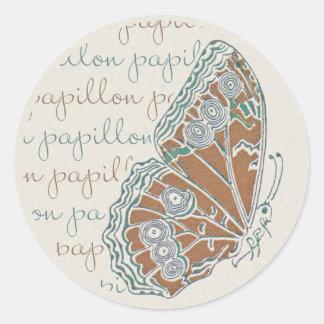 Pegatinas de la mariposa de Nouveau del arte de Pegatina Redonda