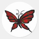 Pegatinas de la mariposa del rojo y de Brown Pegatina Redonda
