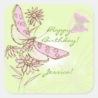 Pegatinas de la mariposa del rosa de la cal del pegatina cuadrada