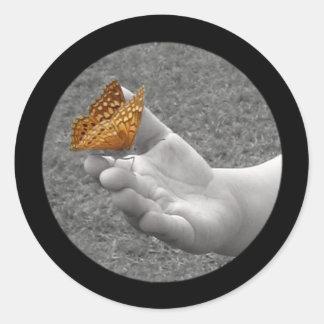 Pegatinas de la mariposa pegatina redonda