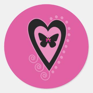 Pegatinas de la mariposa y del corazón pegatinas redondas