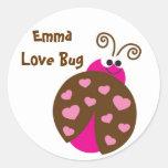 Pegatinas de la mariquita del insecto del amor pegatinas redondas