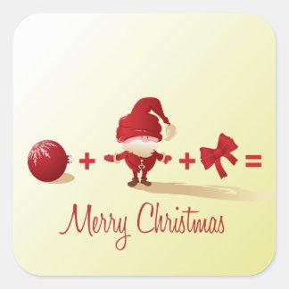 pegatinas de la matemáticas del navidad calcomania cuadradas