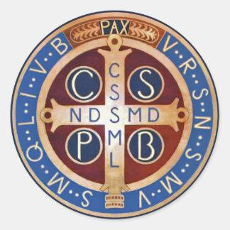 Pegatinas de la medalla del exorcismo del St. Pegatina Redonda