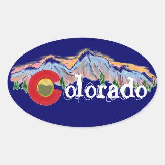 Pegatinas de la montaña de Colorado Pegatina Ovalada