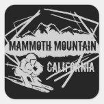 Pegatinas de la montaña del esquí de Mammoth Calcomanias Cuadradas
