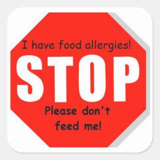 Pegatinas de la muestra de la parada de la alergia