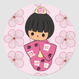 Pegatinas de la muñeca de Kawaii Kokeshi Pegatina Redonda