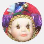 Pegatinas de la muñeca del payaso del carnaval etiquetas redondas