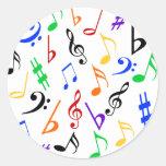 Pegatinas de la música de las notas musicales - pegatinas redondas